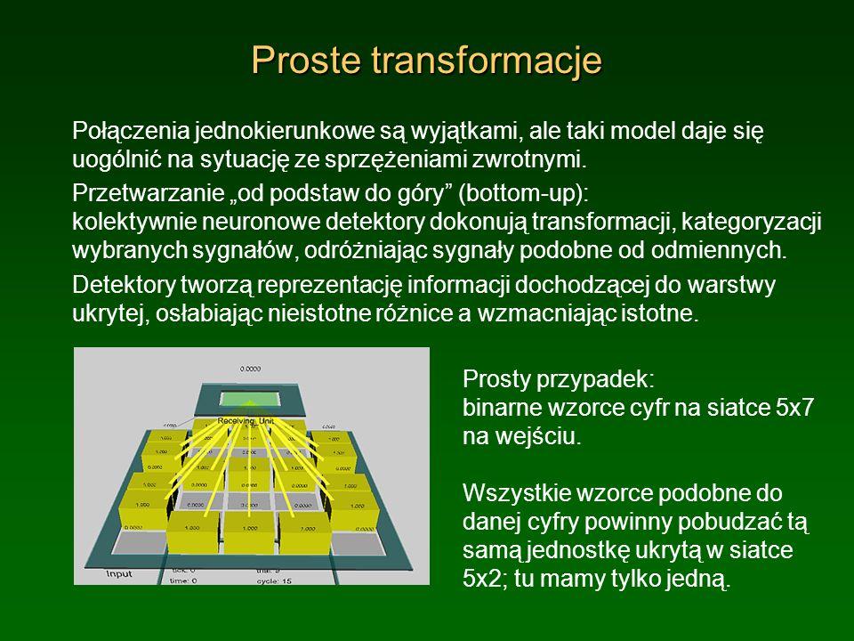 Proste transformacje Połączenia jednokierunkowe są wyjątkami, ale taki model daje się uogólnić na sytuację ze sprzężeniami zwrotnymi.