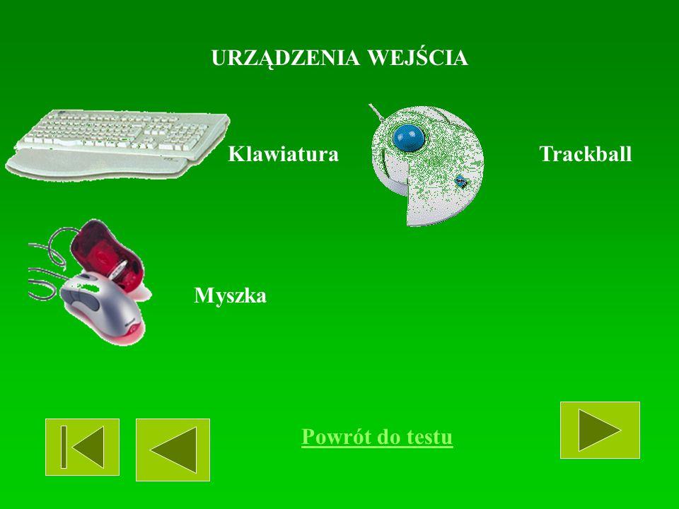 URZĄDZENIA WEJŚCIA Klawiatura Trackball Myszka Powrót do testu