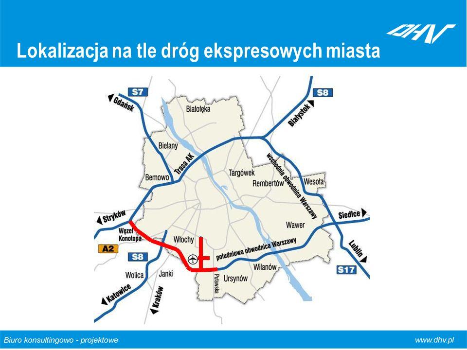 Lokalizacja na tle dróg ekspresowych miasta