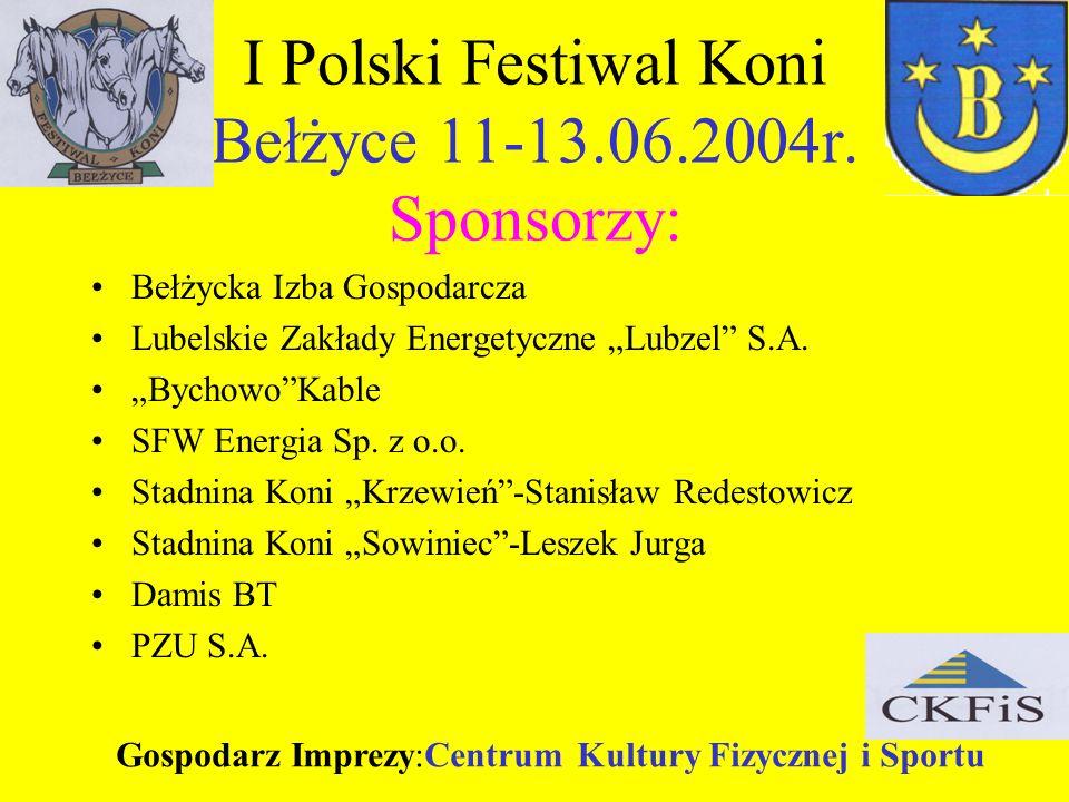 I Polski Festiwal Koni Bełżyce 11-13.06.2004r. Sponsorzy: