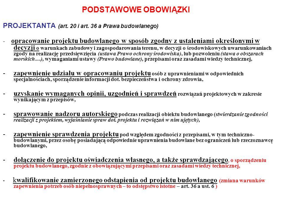 PODSTAWOWE OBOWIĄZKI PROJEKTANTA (art. 20 i art. 36 a Prawa budowlanego)