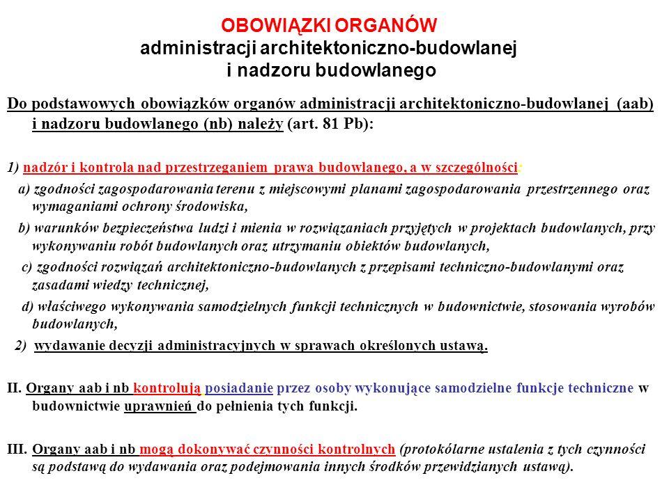 OBOWIĄZKI ORGANÓW administracji architektoniczno-budowlanej i nadzoru budowlanego