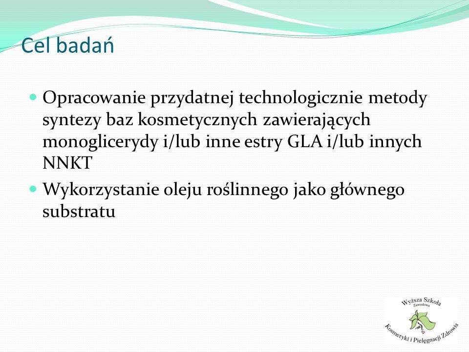 Cel badań Opracowanie przydatnej technologicznie metody syntezy baz kosmetycznych zawierających monoglicerydy i/lub inne estry GLA i/lub innych NNKT.