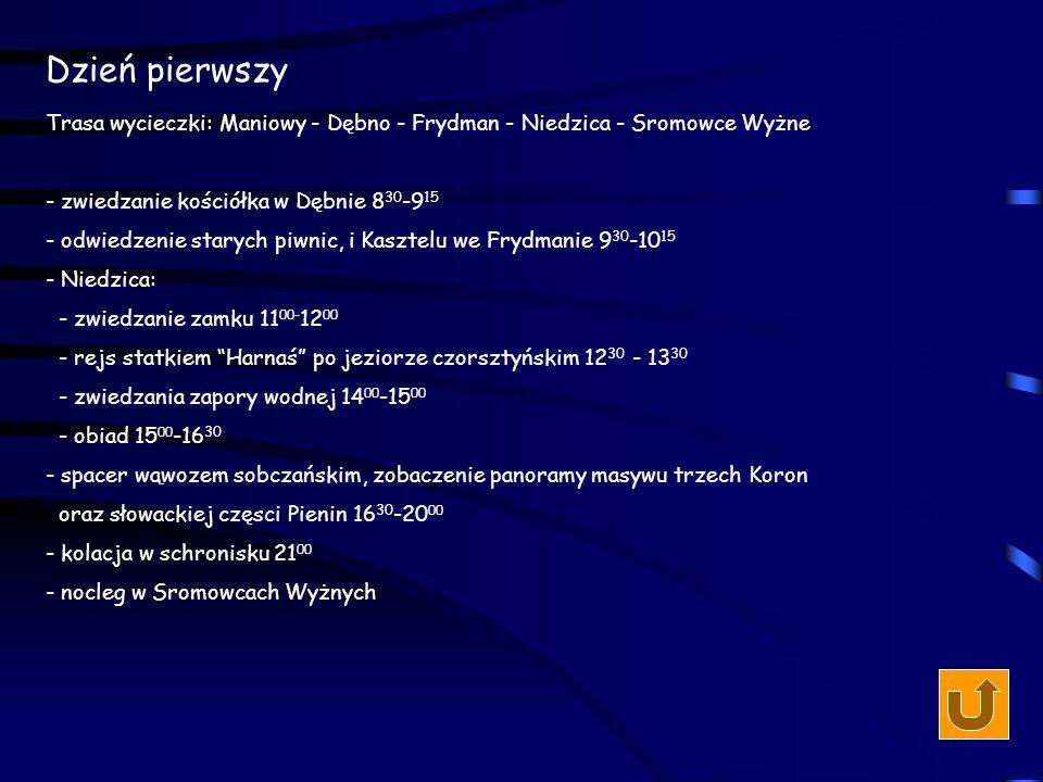 Dzień pierwszy Trasa wycieczki: Maniowy - Dębno - Frydman - Niedzica - Sromowce Wyżne. - zwiedzanie kościółka w Dębnie 830-915.