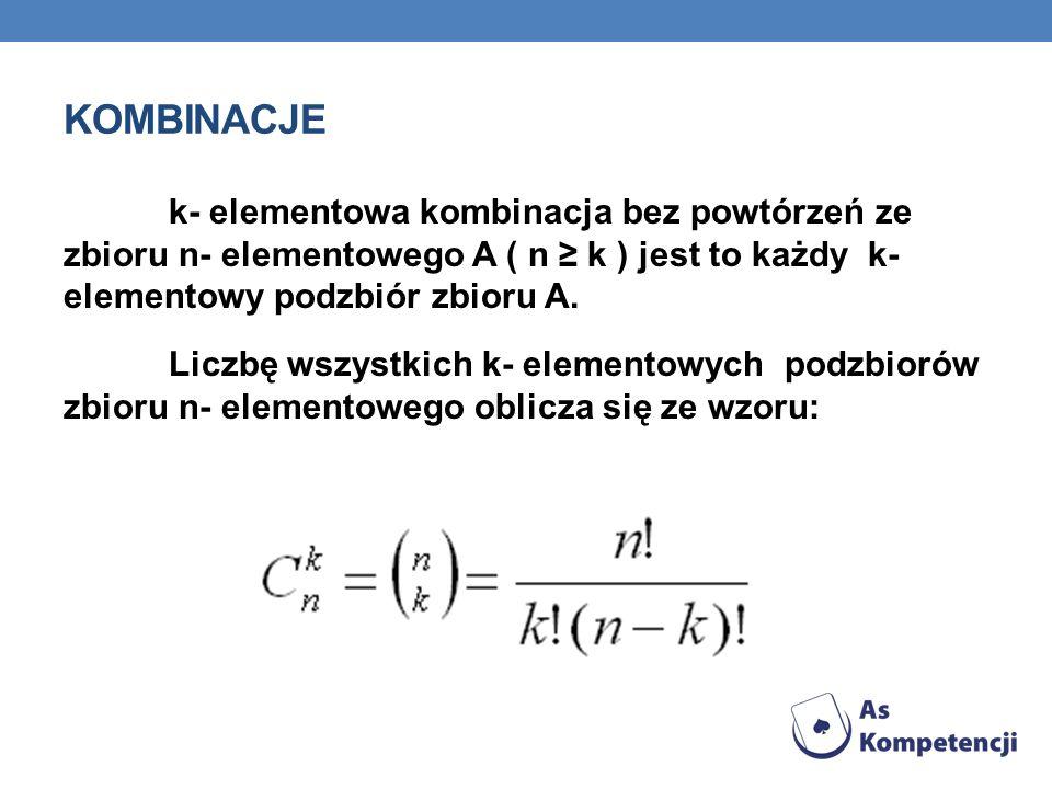 Kombinacje k- elementowa kombinacja bez powtórzeń ze zbioru n- elementowego A ( n ≥ k ) jest to każdy k- elementowy podzbiór zbioru A.