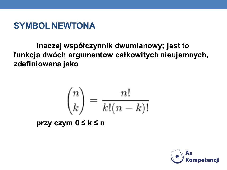 Symbol Newtona inaczej współczynnik dwumianowy; jest to funkcja dwóch argumentów całkowitych nieujemnych, zdefiniowana jako.
