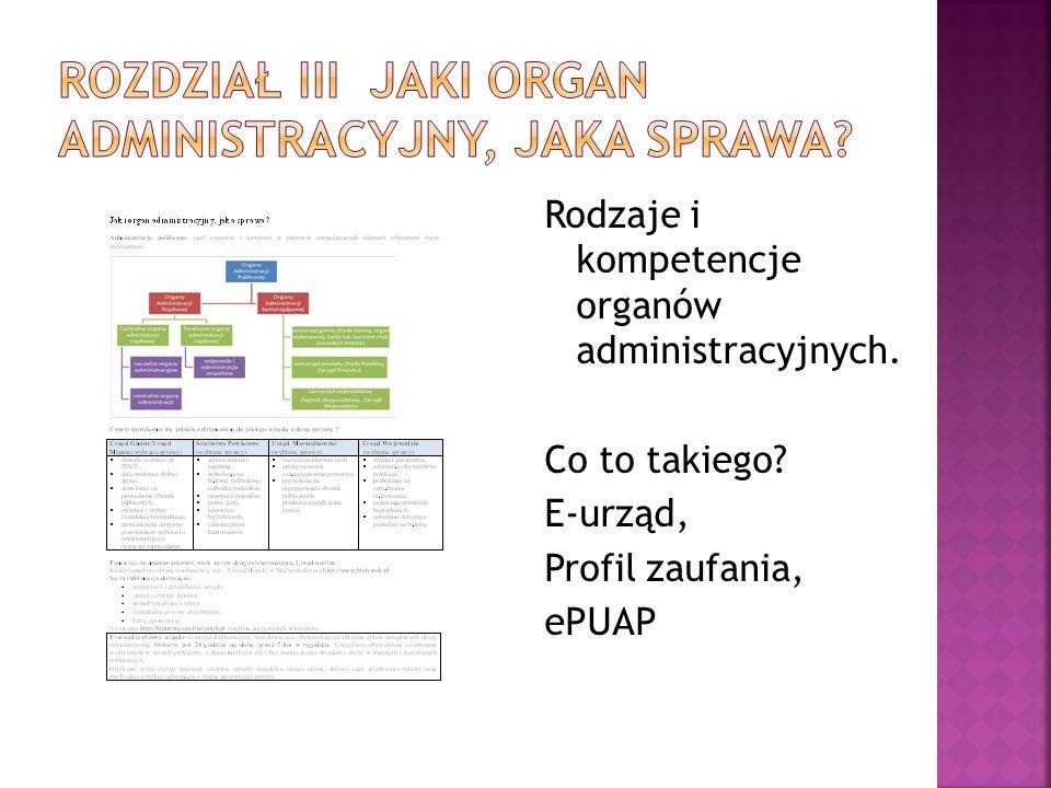 Rozdział III Jaki organ administracyjny, jaka sprawa