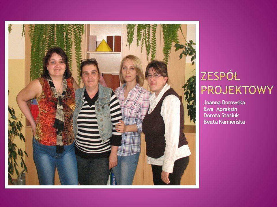 Zespół Projektowy Joanna Borowska Ewa Apraksin Dorota Stasiuk