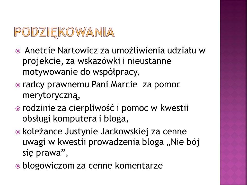 Podziękowania Anetcie Nartowicz za umożliwienia udziału w projekcie, za wskazówki i nieustanne motywowanie do współpracy,