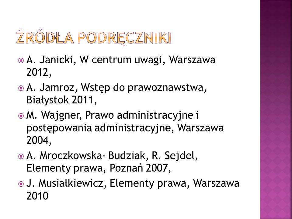 Źródła podręczniki A. Janicki, W centrum uwagi, Warszawa 2012,