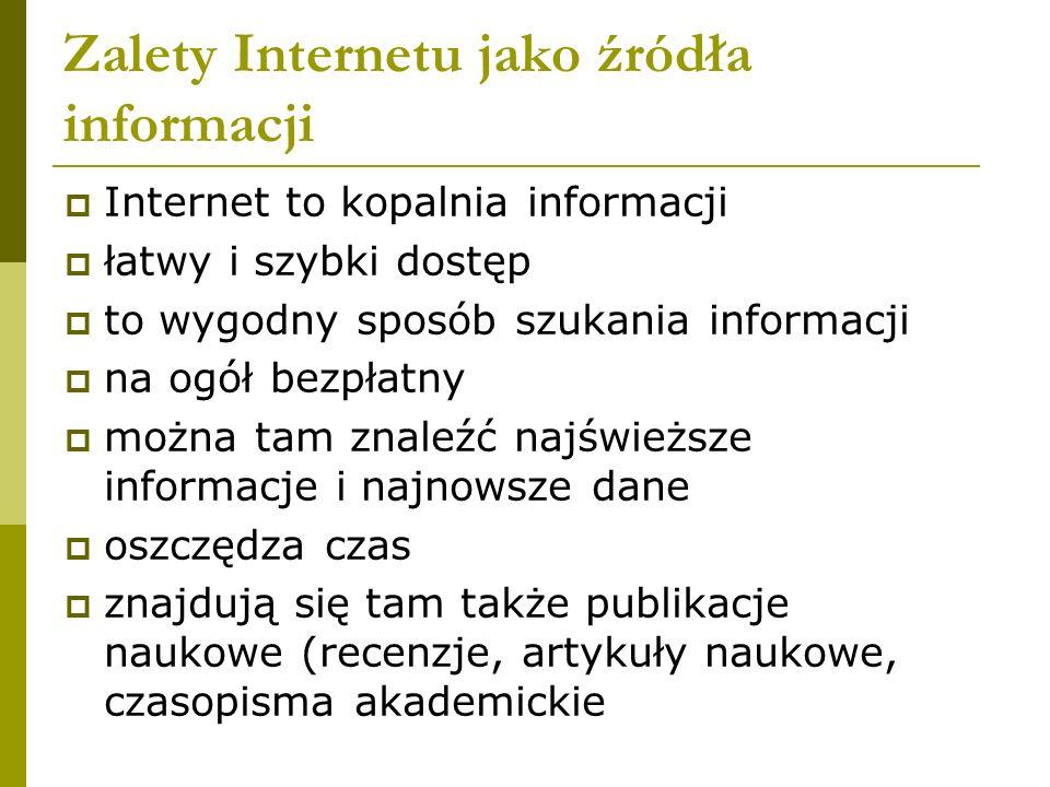 Zalety Internetu jako źródła informacji