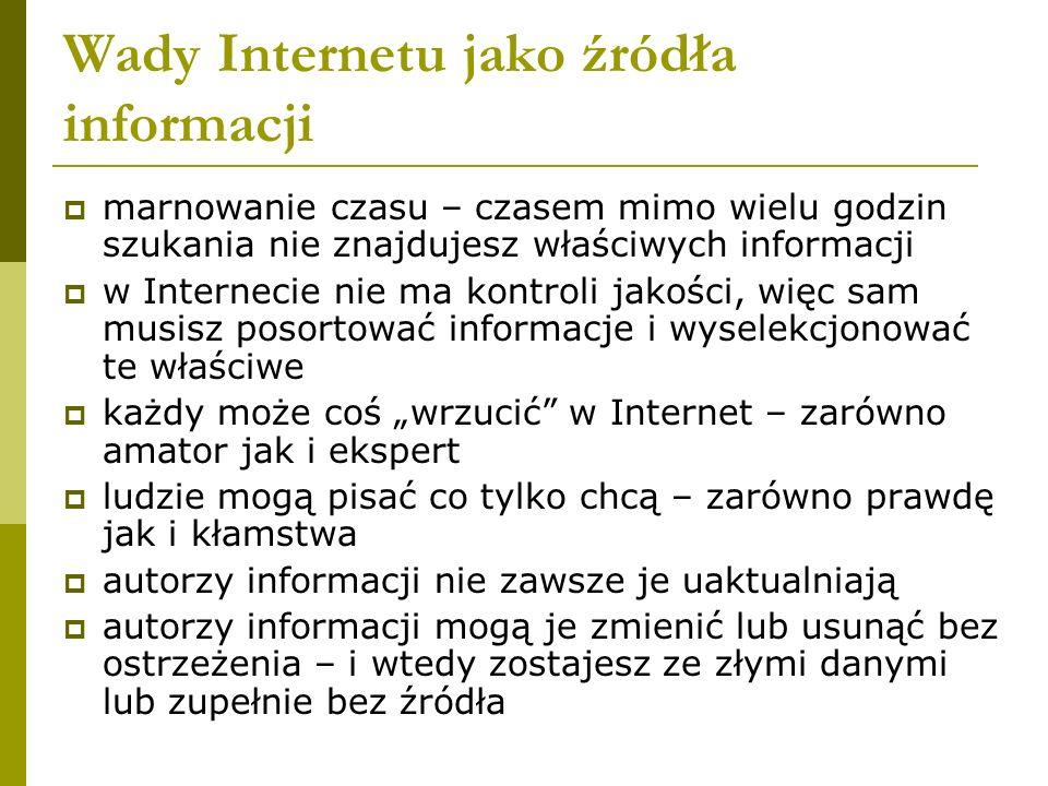 Wady Internetu jako źródła informacji