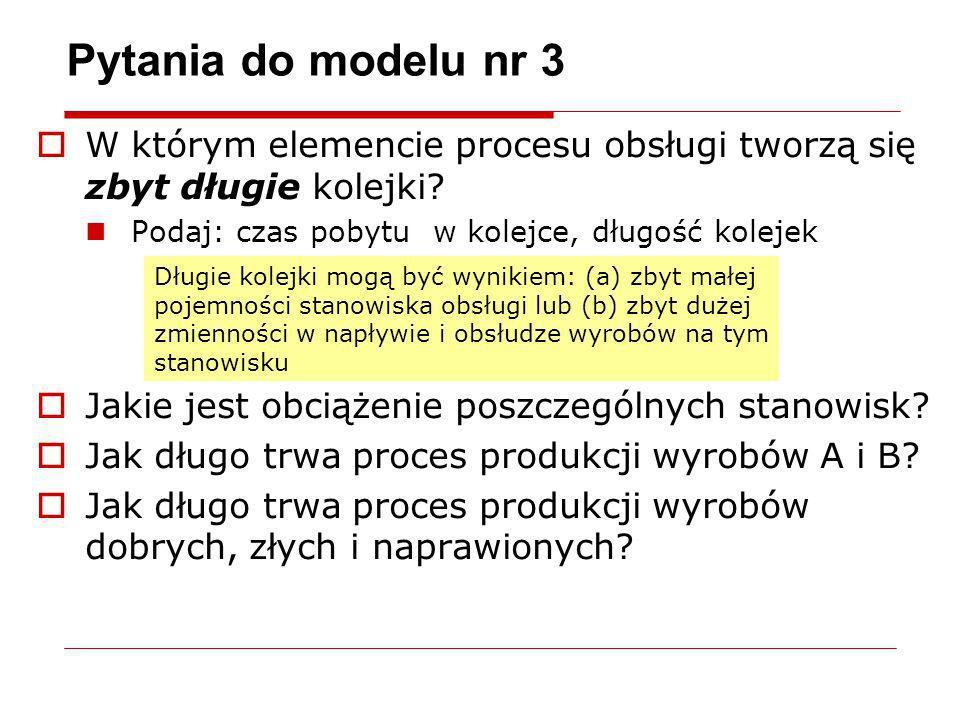 Pytania do modelu nr 3 W którym elemencie procesu obsługi tworzą się zbyt długie kolejki Podaj: czas pobytu w kolejce, długość kolejek.