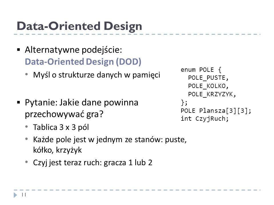 Data-Oriented Design Alternatywne podejście: Data-Oriented Design (DOD) Myśl o strukturze danych w pamięci.