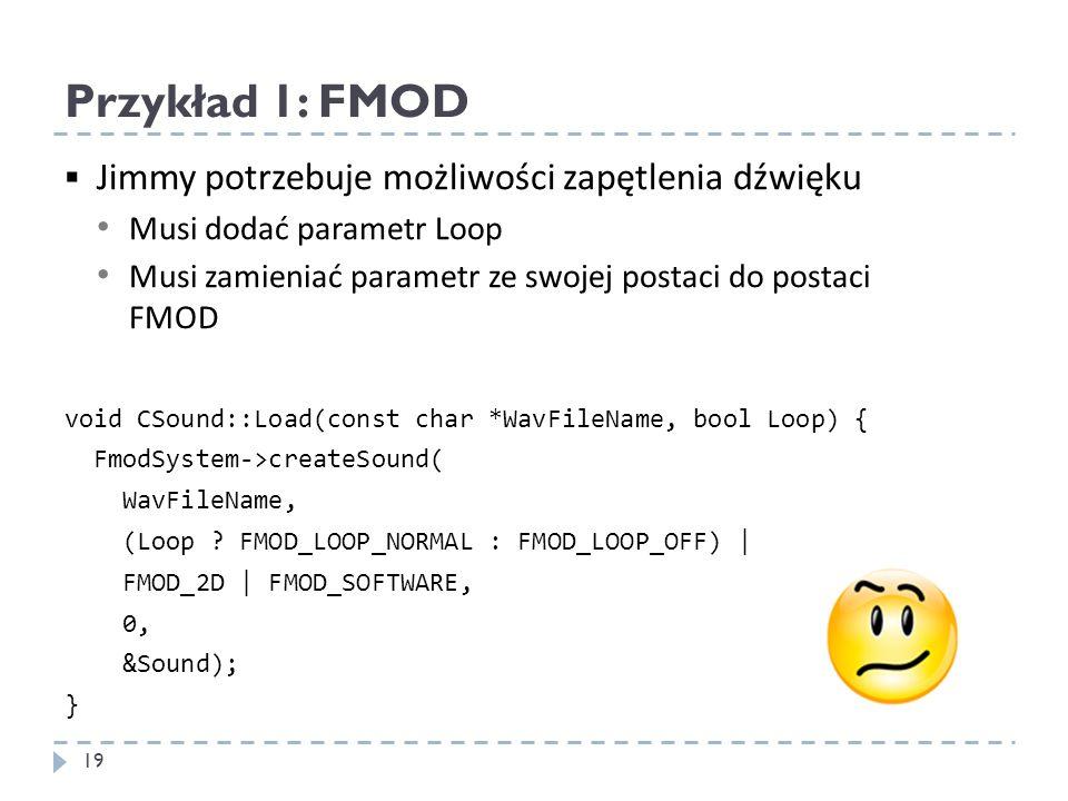 Przykład 1: FMOD Jimmy potrzebuje możliwości zapętlenia dźwięku