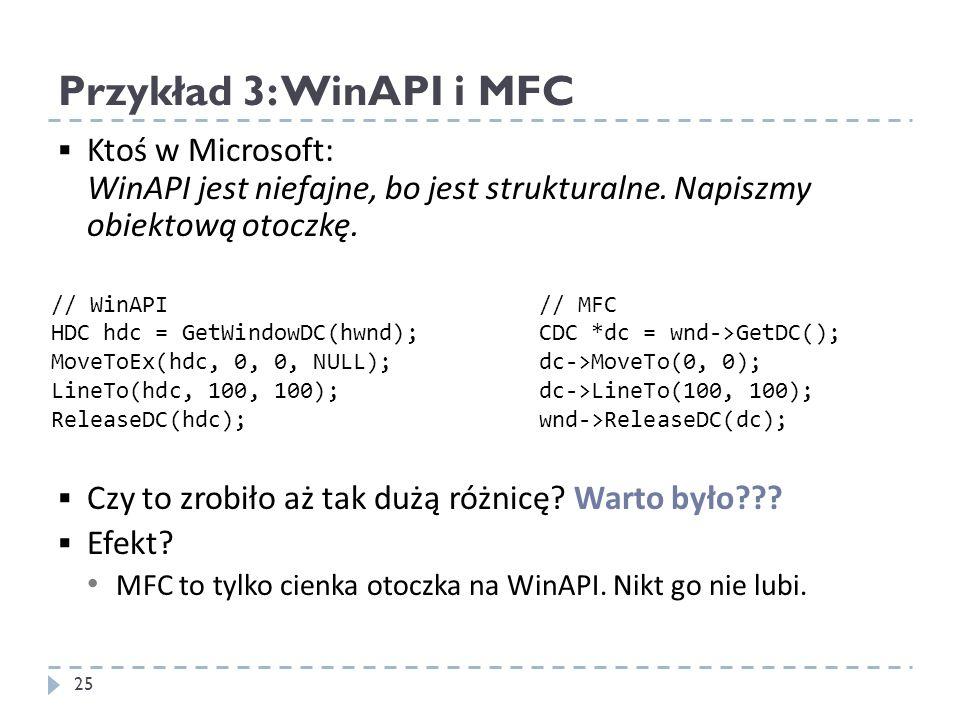 Przykład 3: WinAPI i MFC Ktoś w Microsoft: WinAPI jest niefajne, bo jest strukturalne. Napiszmy obiektową otoczkę.