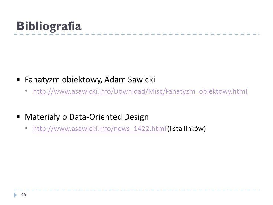 Bibliografia Fanatyzm obiektowy, Adam Sawicki