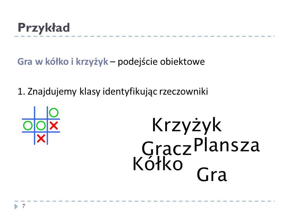 Przykład Gra w kółko i krzyżyk – podejście obiektowe 1. Znajdujemy klasy identyfikując rzeczowniki