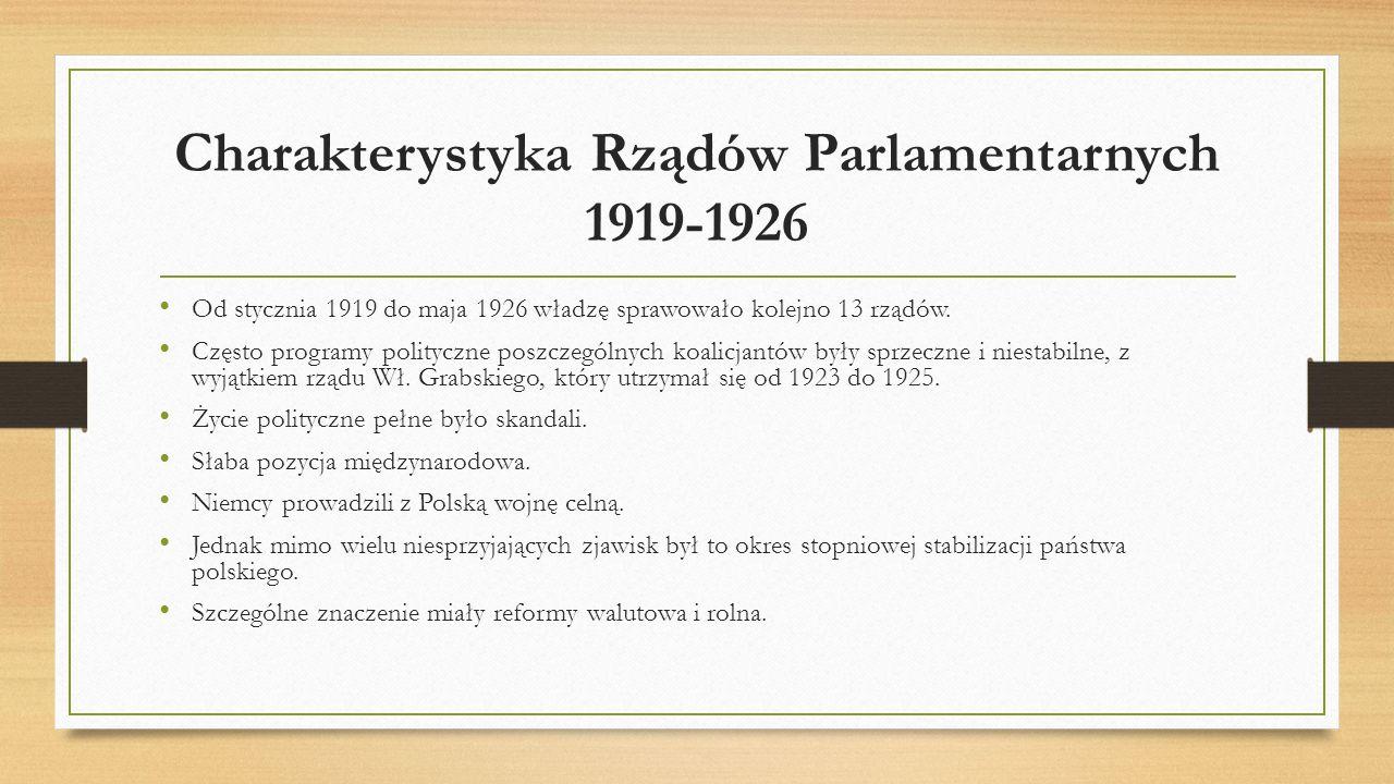 Charakterystyka Rządów Parlamentarnych 1919-1926