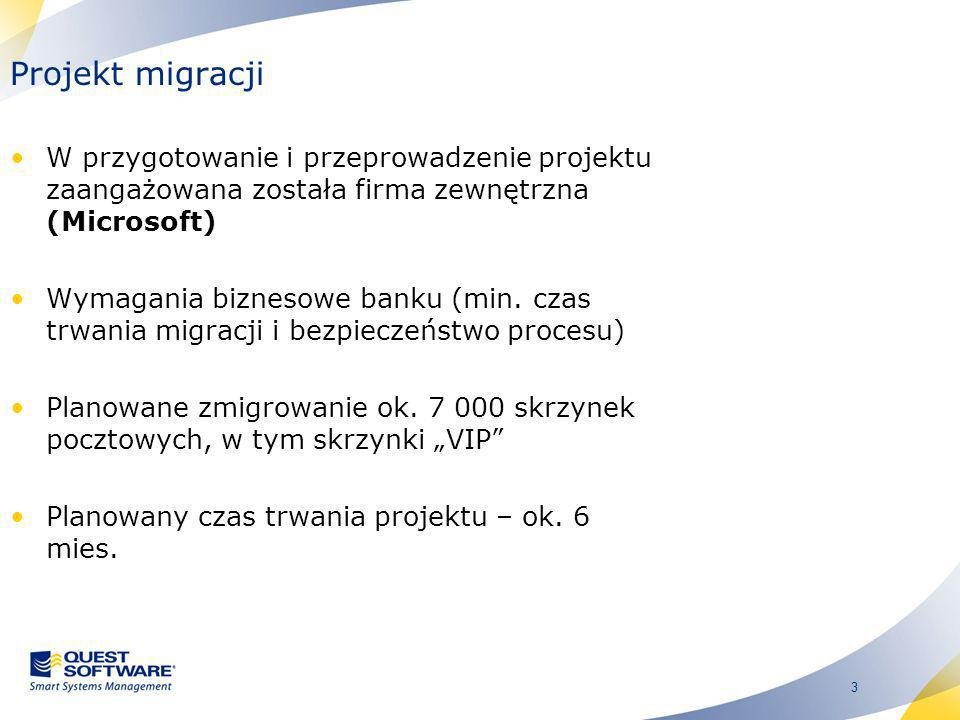 Projekt migracji W przygotowanie i przeprowadzenie projektu zaangażowana została firma zewnętrzna (Microsoft)