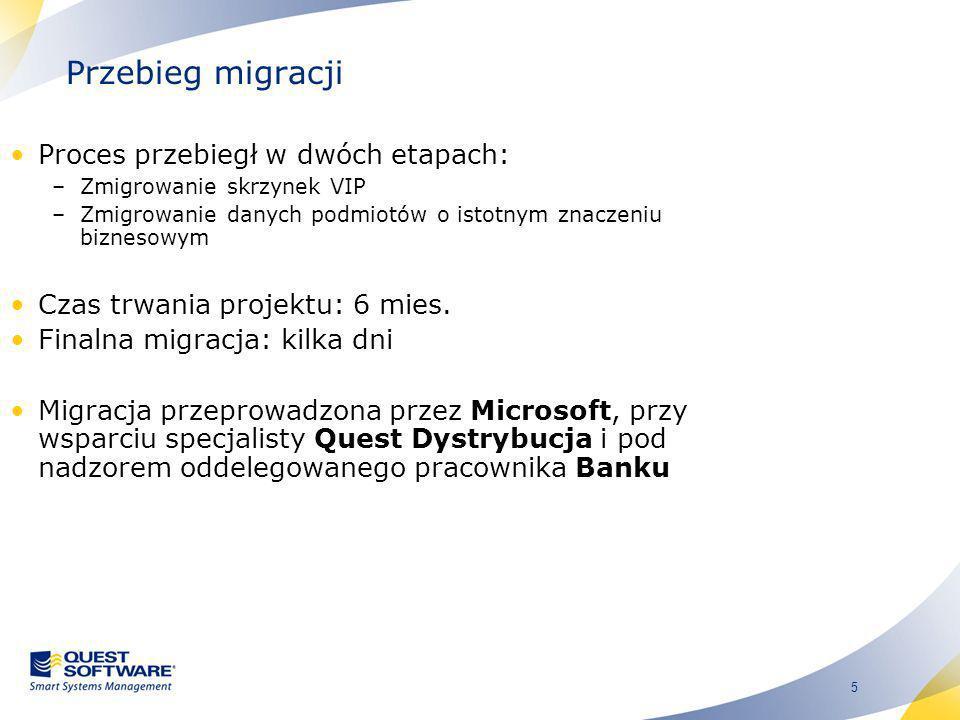 Przebieg migracji Proces przebiegł w dwóch etapach: