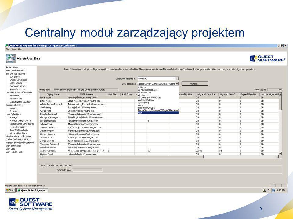 Centralny moduł zarządzający projektem