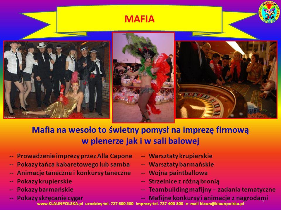 MAFIA Mafia na wesoło to świetny pomysł na imprezę firmową w plenerze jak i w sali balowej. -- Prowadzenie imprezy przez Alla Capone.