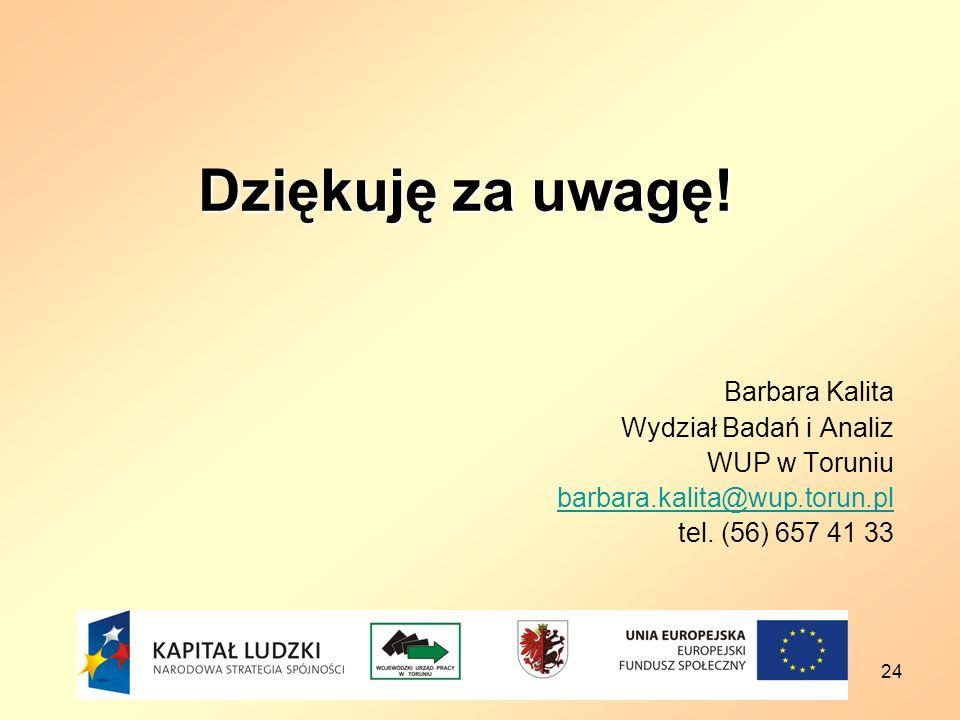 Dziękuję za uwagę! Barbara Kalita Wydział Badań i Analiz WUP w Toruniu