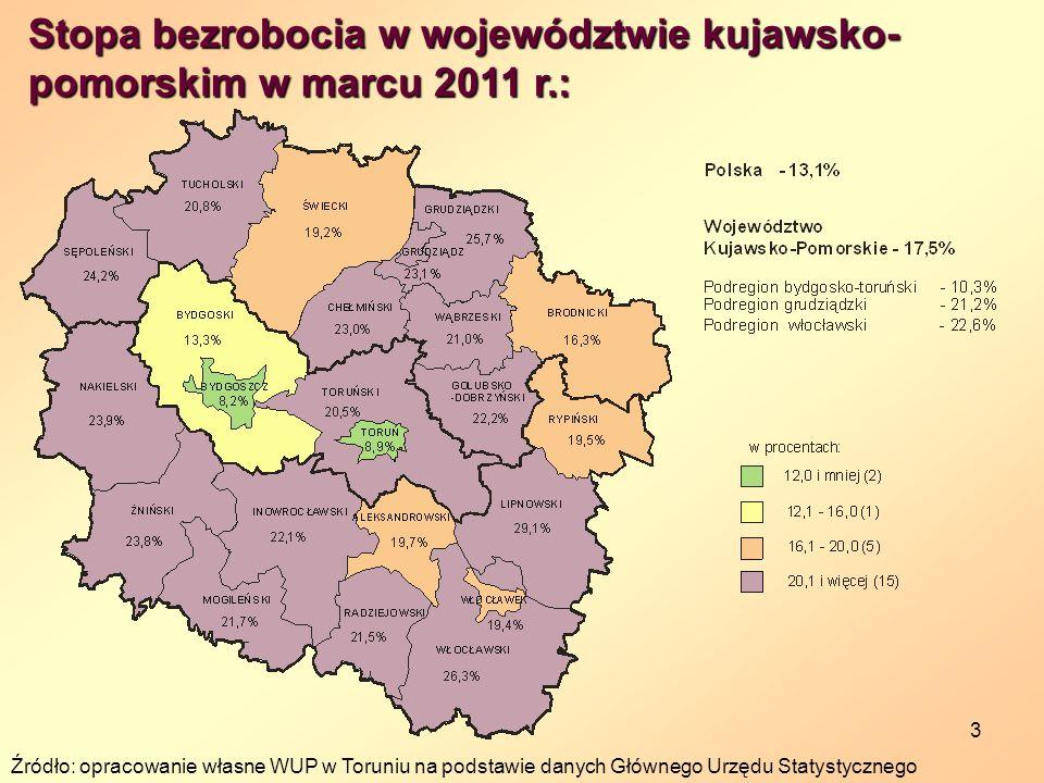Stopa bezrobocia w województwie kujawsko-pomorskim w marcu 2011 r.: