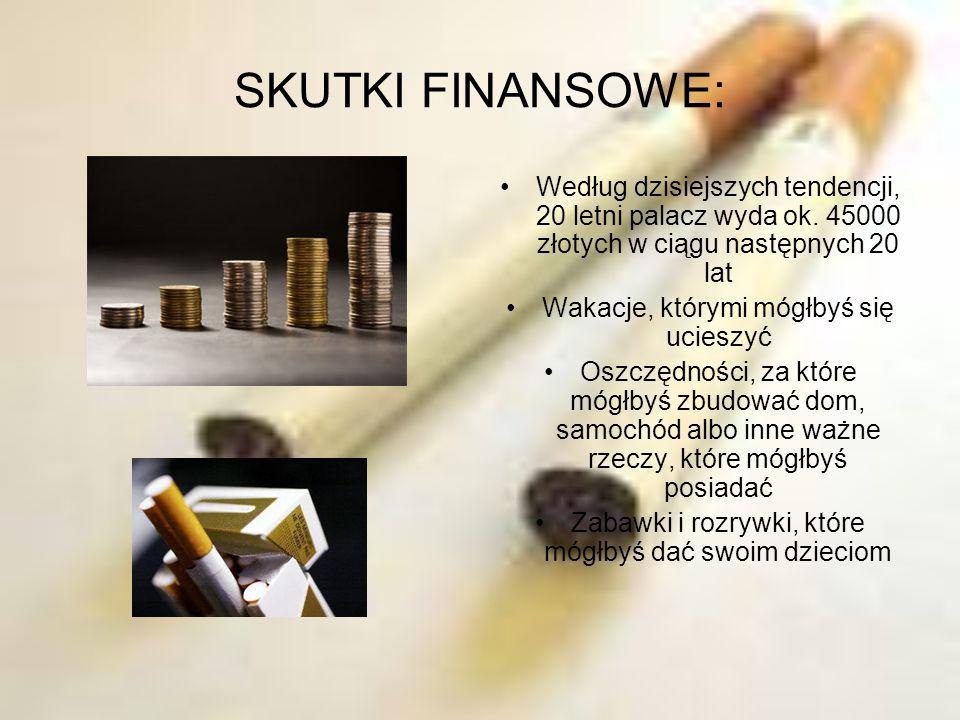 SKUTKI FINANSOWE: Według dzisiejszych tendencji, 20 letni palacz wyda ok. 45000 złotych w ciągu następnych 20 lat.