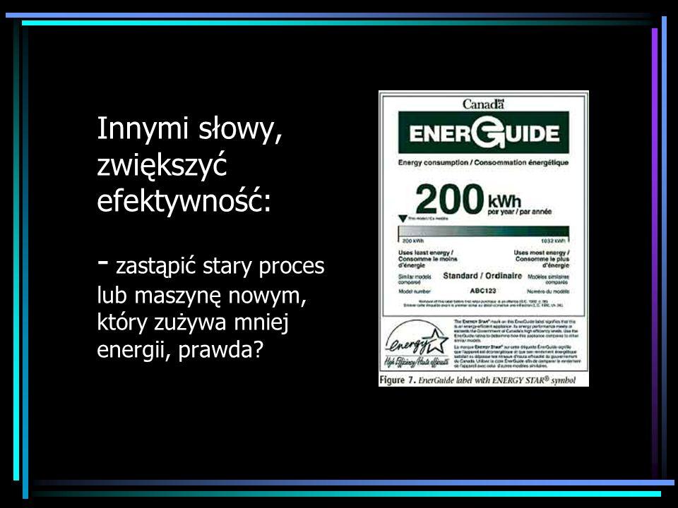 Innymi słowy, zwiększyć efektywność: - zastąpić stary proces lub maszynę nowym, który zużywa mniej energii, prawda