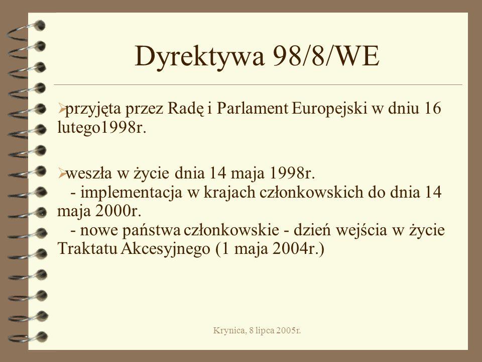 Dyrektywa 98/8/WE przyjęta przez Radę i Parlament Europejski w dniu 16 lutego1998r.