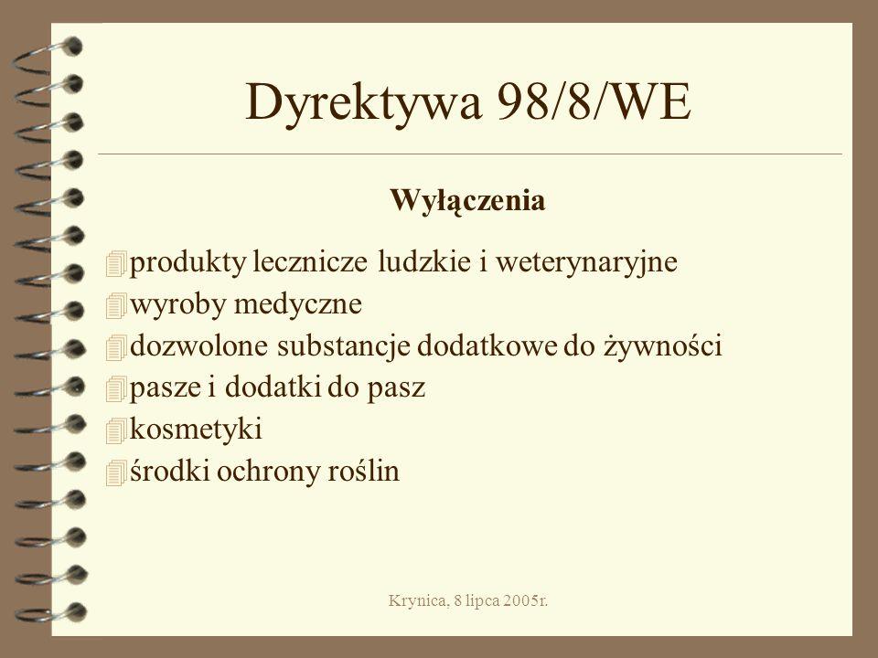 Dyrektywa 98/8/WE Wyłączenia