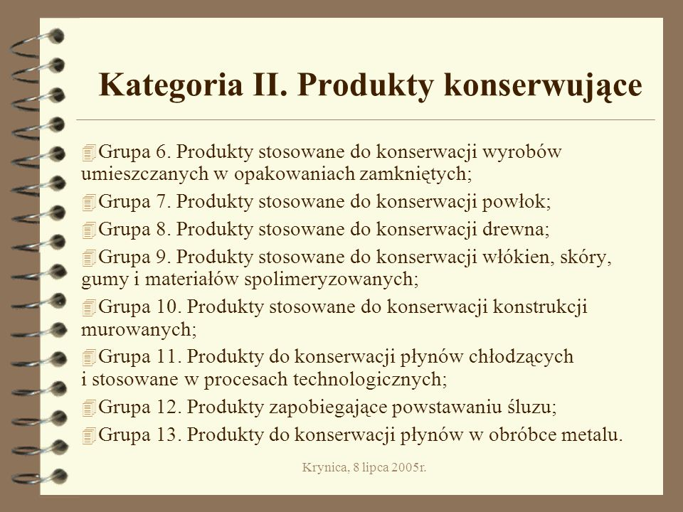 Kategoria II. Produkty konserwujące