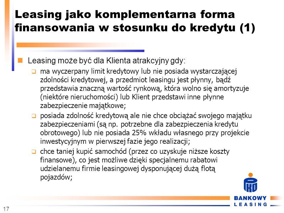 Leasing jako komplementarna forma finansowania w stosunku do kredytu (1)