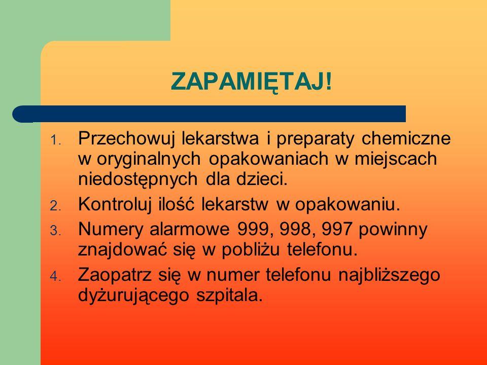 ZAPAMIĘTAJ! Przechowuj lekarstwa i preparaty chemiczne w oryginalnych opakowaniach w miejscach niedostępnych dla dzieci.