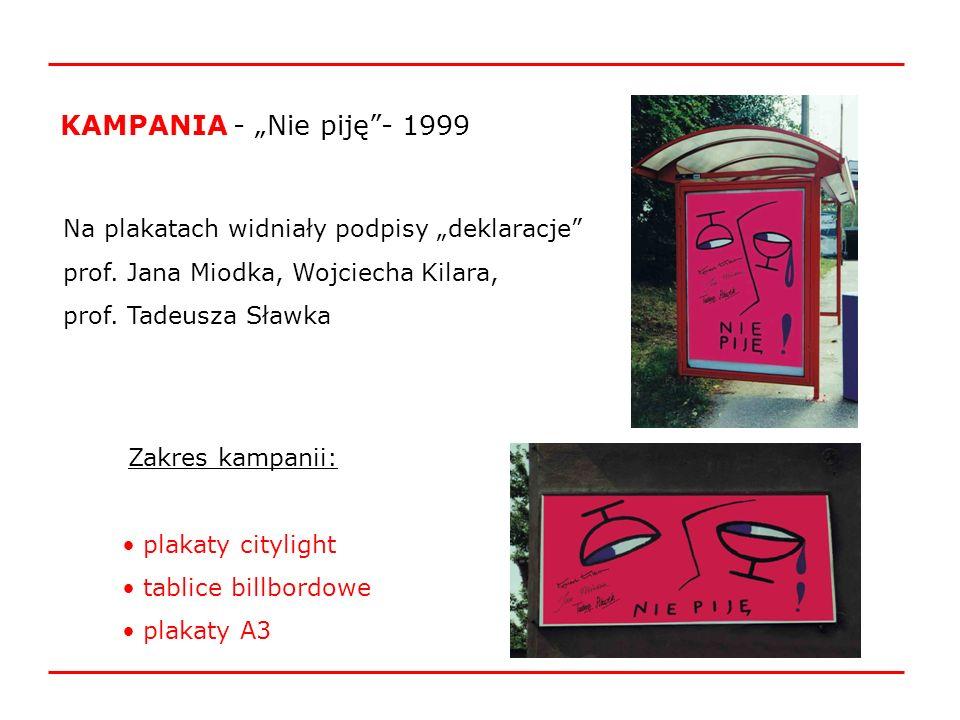 """KAMPANIA - """"Nie piję - 1999 Na plakatach widniały podpisy """"deklaracje"""