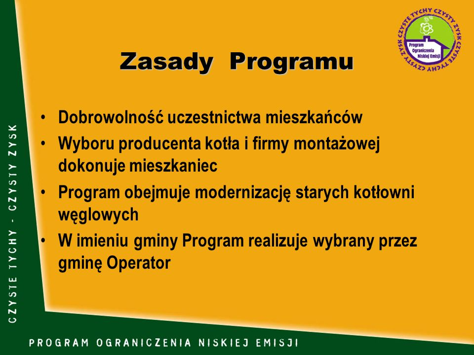 Zasady Programu Dobrowolność uczestnictwa mieszkańców