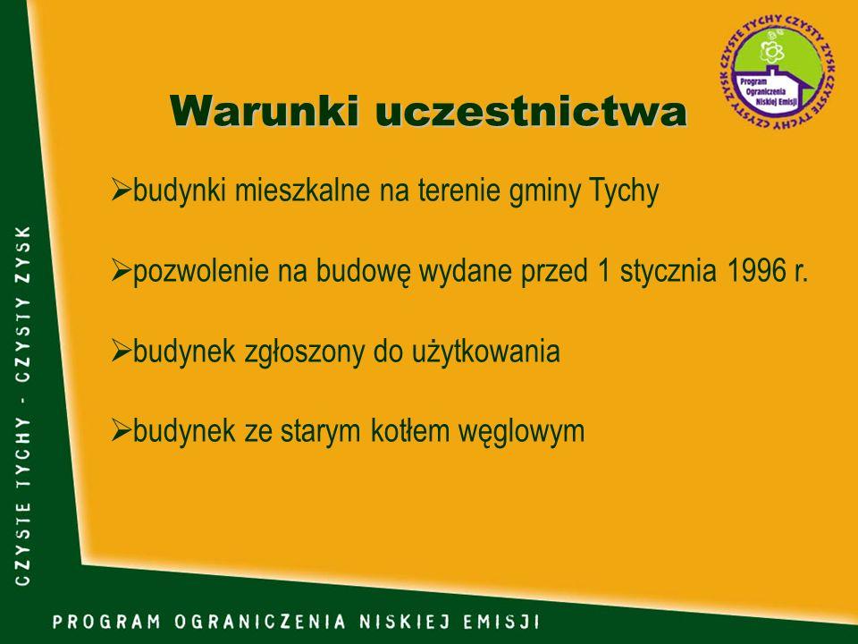 Warunki uczestnictwa budynki mieszkalne na terenie gminy Tychy