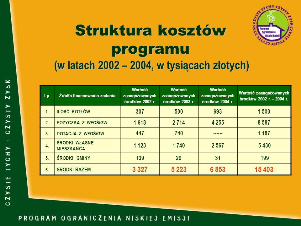Struktura kosztów programu (w latach 2002 – 2004, w tysiącach złotych)