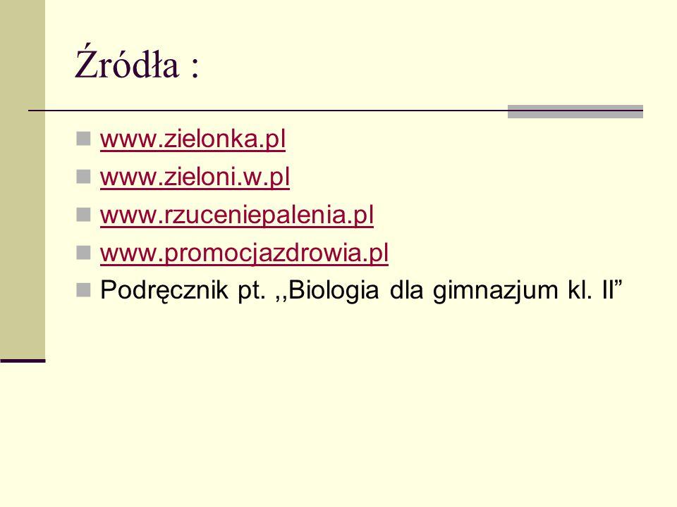 Źródła : www.zielonka.pl www.zieloni.w.pl www.rzuceniepalenia.pl