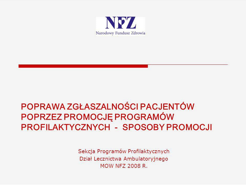 Sekcja Programów Profilaktycznych Dział Lecznictwa Ambulatoryjnego