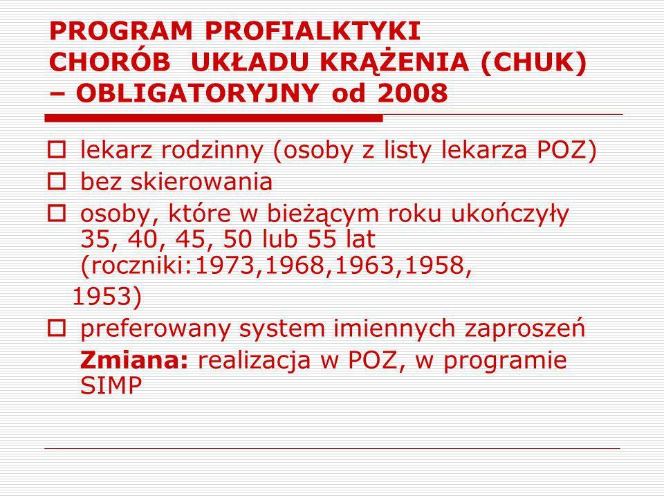 PROGRAM PROFIALKTYKI CHORÓB UKŁADU KRĄŻENIA (CHUK) – OBLIGATORYJNY od 2008