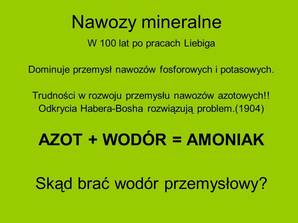 Nawozy mineralne AZOT + WODÓR = AMONIAK Skąd brać wodór przemysłowy