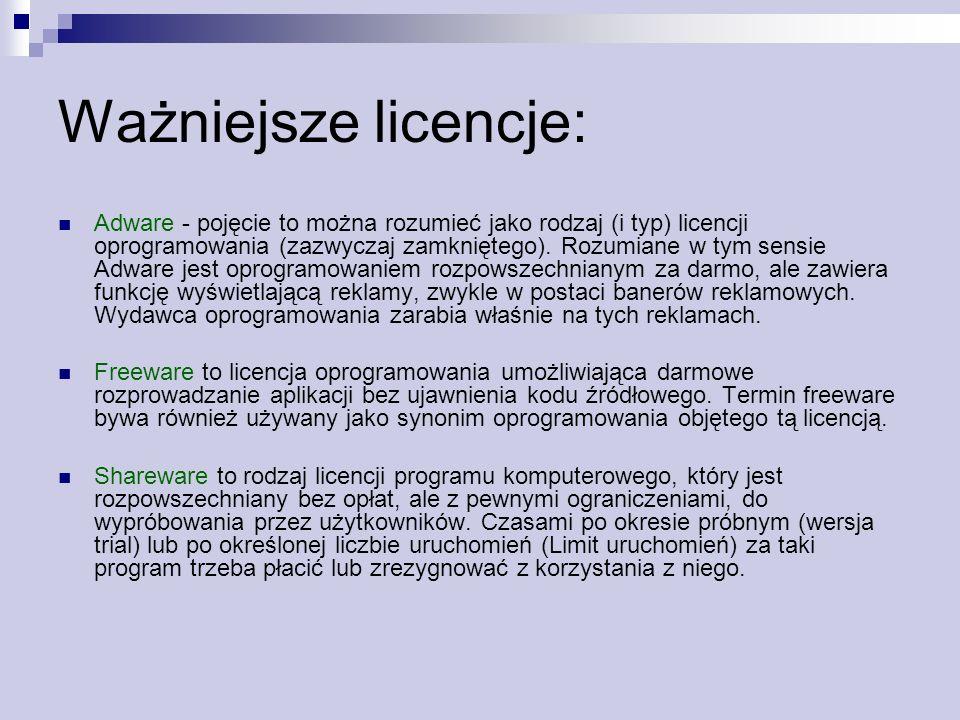 Ważniejsze licencje: