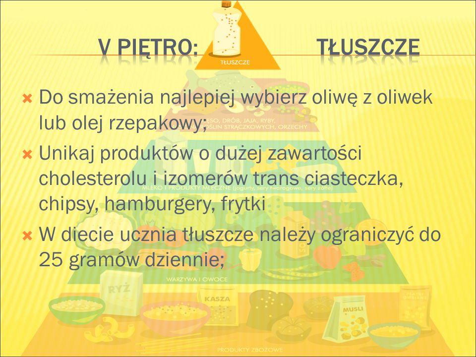 V piętro: tłuszcze Do smażenia najlepiej wybierz oliwę z oliwek lub olej rzepakowy;