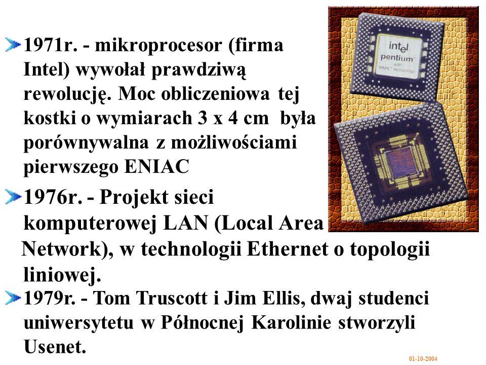 1976r. - Projekt sieci komputerowej LAN (Local Area