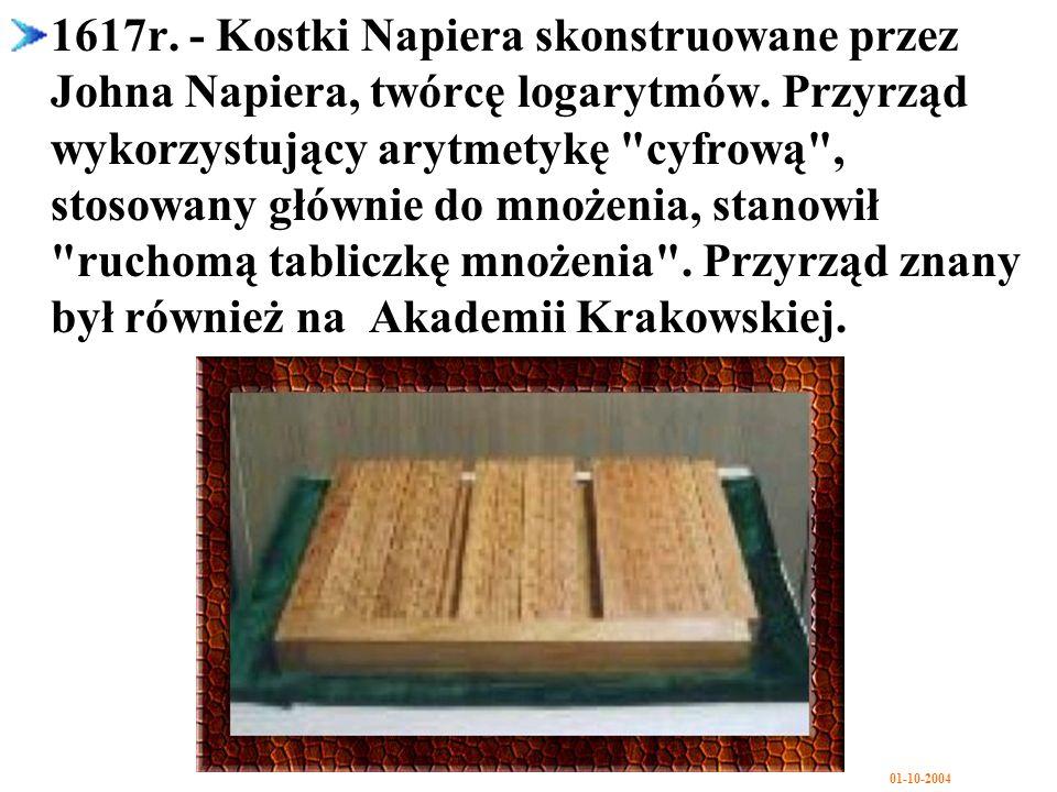 1617r. - Kostki Napiera skonstruowane przez Johna Napiera, twórcę logarytmów.