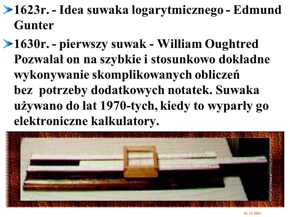 1623r. - Idea suwaka logarytmicznego - Edmund Gunter