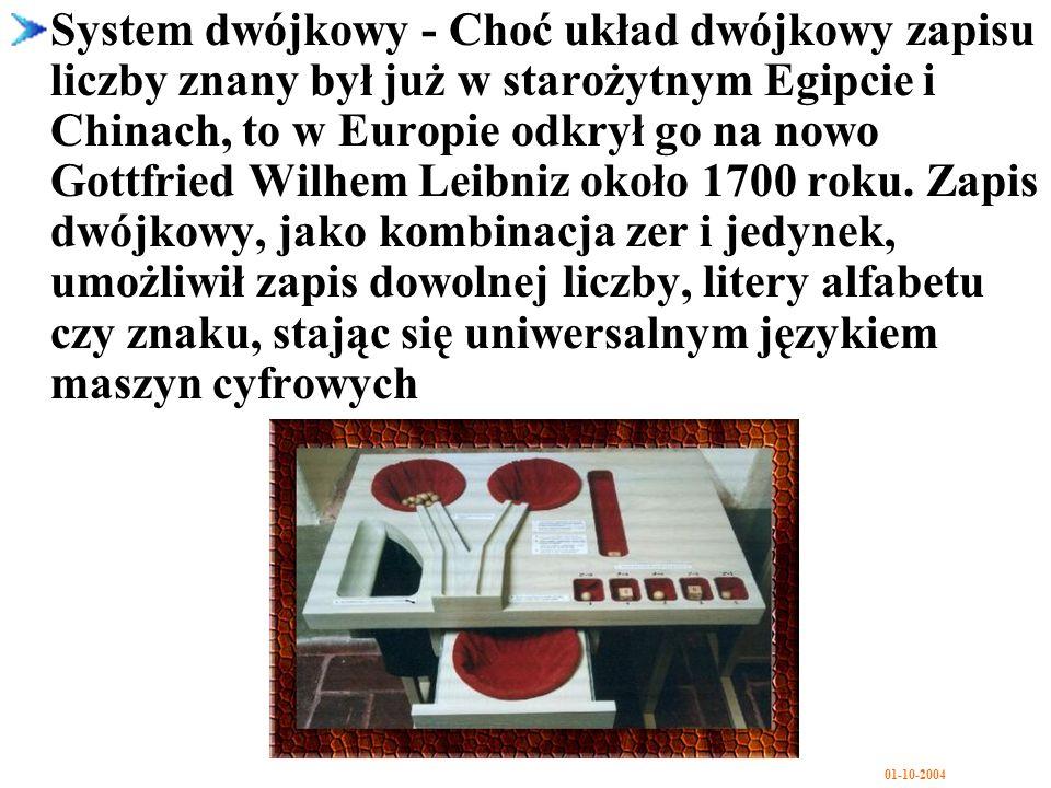 System dwójkowy - Choć układ dwójkowy zapisu liczby znany był już w starożytnym Egipcie i Chinach, to w Europie odkrył go na nowo Gottfried Wilhem Leibniz około 1700 roku.